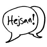 Illustration pratbubbla med Hejsan